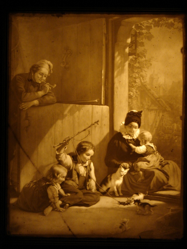 Family Scene German Lithophane 1856