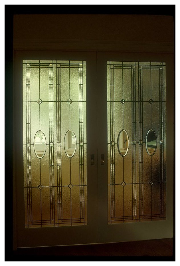 Pocket Door Panels Clear Textured And Bevelled Glass Residence Nw